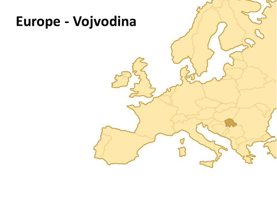 Vojvodina Vojvodina - situated in the northern part of Serbia, in the Pannonian Plain of Central Europe Area: 21.5O6 km 2 Population: 2 million inhabitants Sub-regions: Bačka Banat and Srem Features: Pannonian Plain Fruška Gora Vršac Hills Danube river