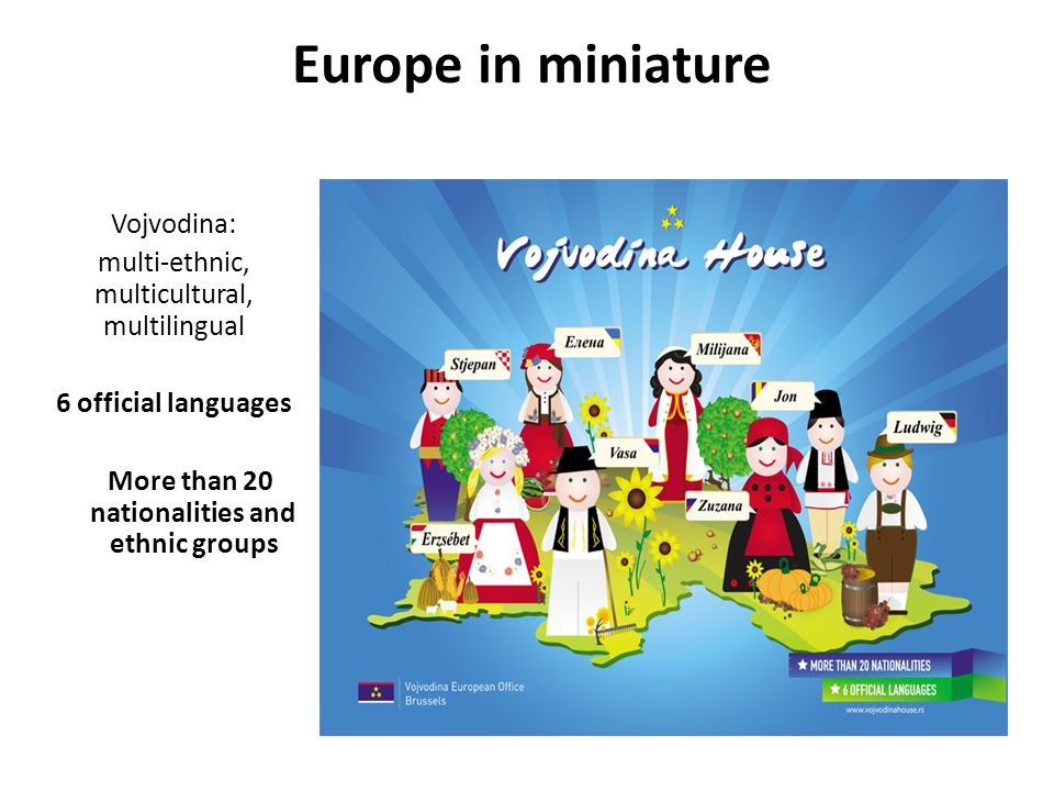 Europe in miniature Vojvodina: multi-ethnic, multicultural, multilingual 6 official languages More than 20 nationalities and ethnic groups