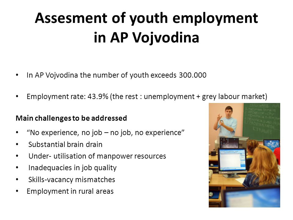 Assesment of youth employment in AP Vojvodina In AP Vojvodina the number of youth exceeds Employment rate: 43.9% (the rest : unemployment + grey labour market) Main challenges to be addressed No experience, no job – no job, no experience Substantial brain drain Under- utilisation of manpower resources Inadequacies in job quality Skills-vacancy mismatches Employment in rural areas