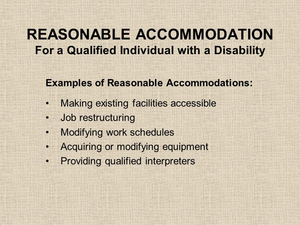 "REASONABLE ACCOMMODATION For a Qualified Individual with a Disability What are ""essential functions"" of a position? Those duties that are so fundament"