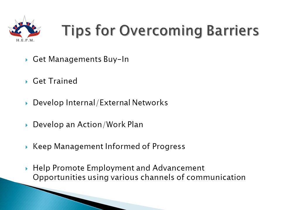  Get Managements Buy-In  Get Trained  Develop Internal/External Networks  Develop an Action/Work Plan  Keep Management Informed of Progress  Hel