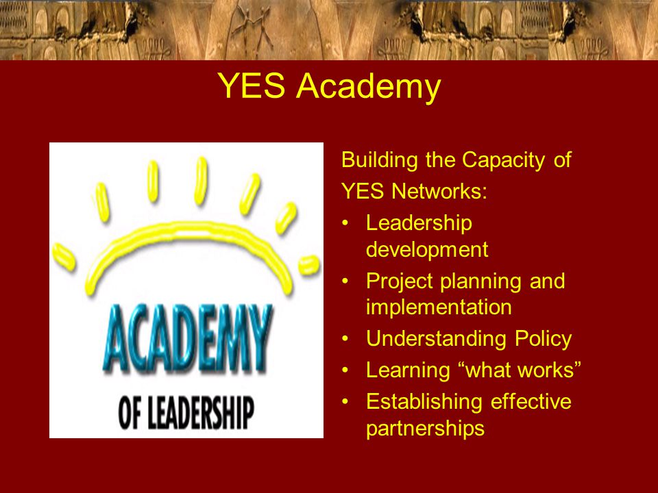 "YES Academy Building the Capacity of YES Networks: Leadership development Project planning and implementation Understanding Policy Learning ""what work"