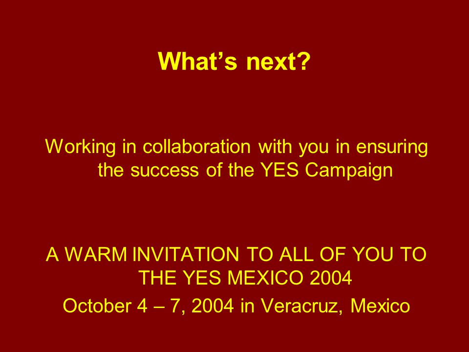 What's next? Working in collaboration with you in ensuring the success of the YES Campaign A WARM INVITATION TO ALL OF YOU TO THE YES MEXICO 2004 Octo