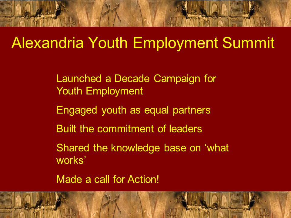Building the Capacity of Youth Not enough to demand that youth be consulted in framing policies and developing programs Essential to provide them the opportunity to learn about 'what works' and 'what's missing' The Importance of gap analysis - SIDA/YES project for engaging youth as leaders for employment