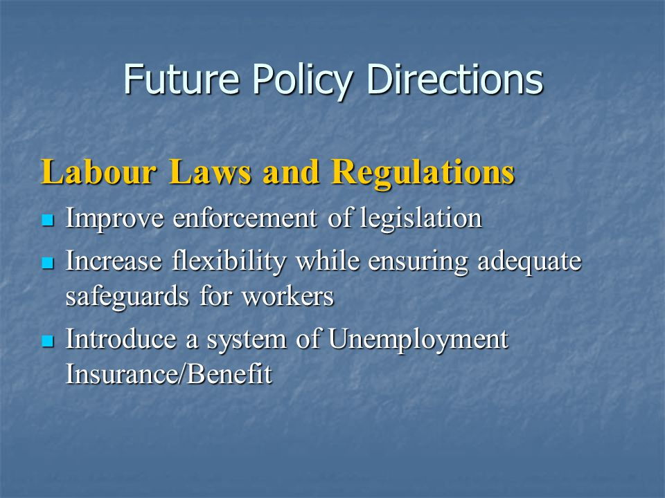 Future Policy Directions Labour Laws and Regulations Improve enforcement of legislation Improve enforcement of legislation Increase flexibility while ensuring adequate safeguards for workers Increase flexibility while ensuring adequate safeguards for workers Introduce a system of Unemployment Insurance/Benefit Introduce a system of Unemployment Insurance/Benefit