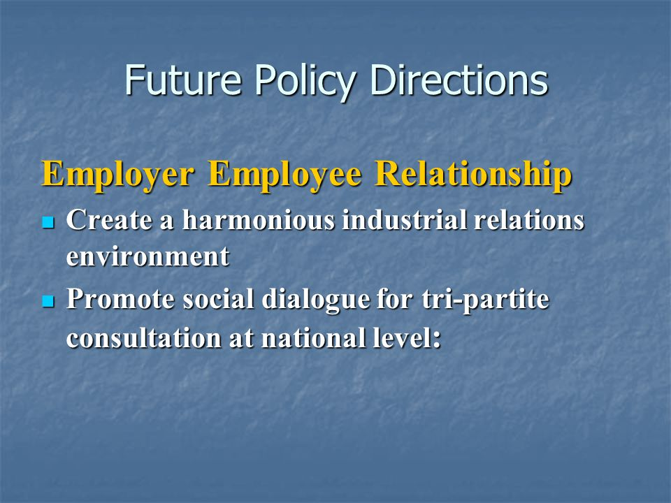 Future Policy Directions Employer Employee Relationship Create a harmonious industrial relations environment Create a harmonious industrial relations