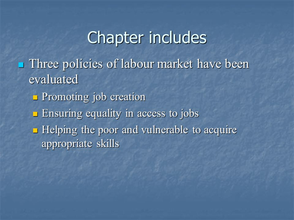 Chapter includes Chapter includes Three policies of labour market have been evaluated Three policies of labour market have been evaluated Promoting job creation Promoting job creation Ensuring equality in access to jobs Ensuring equality in access to jobs Helping the poor and vulnerable to acquire appropriate skills Helping the poor and vulnerable to acquire appropriate skills