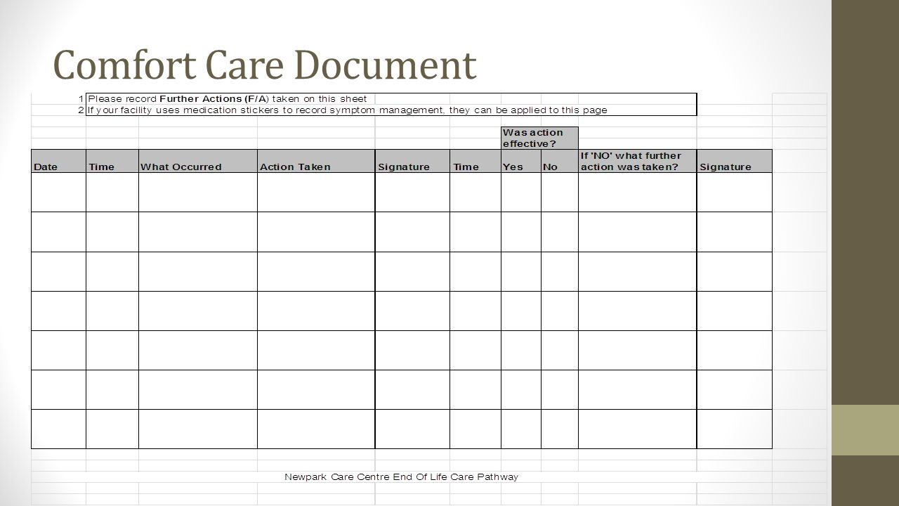 Comfort Care Document