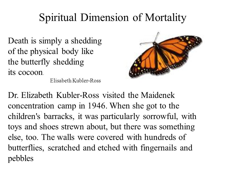 Spiritual Dimension of Mortality Death is simply a shedding of the physical body like the butterfly shedding its cocoon. Elisabeth Kubler-Ross Dr. Eli