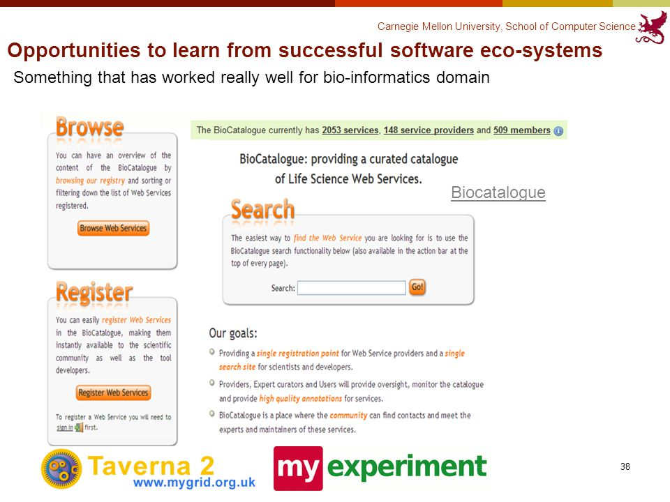 Carnegie Mellon University, School of Computer Science Opportunities to learn from successful software eco-systems Something that has worked really well for bio-informatics domain 38 Biocatalogue