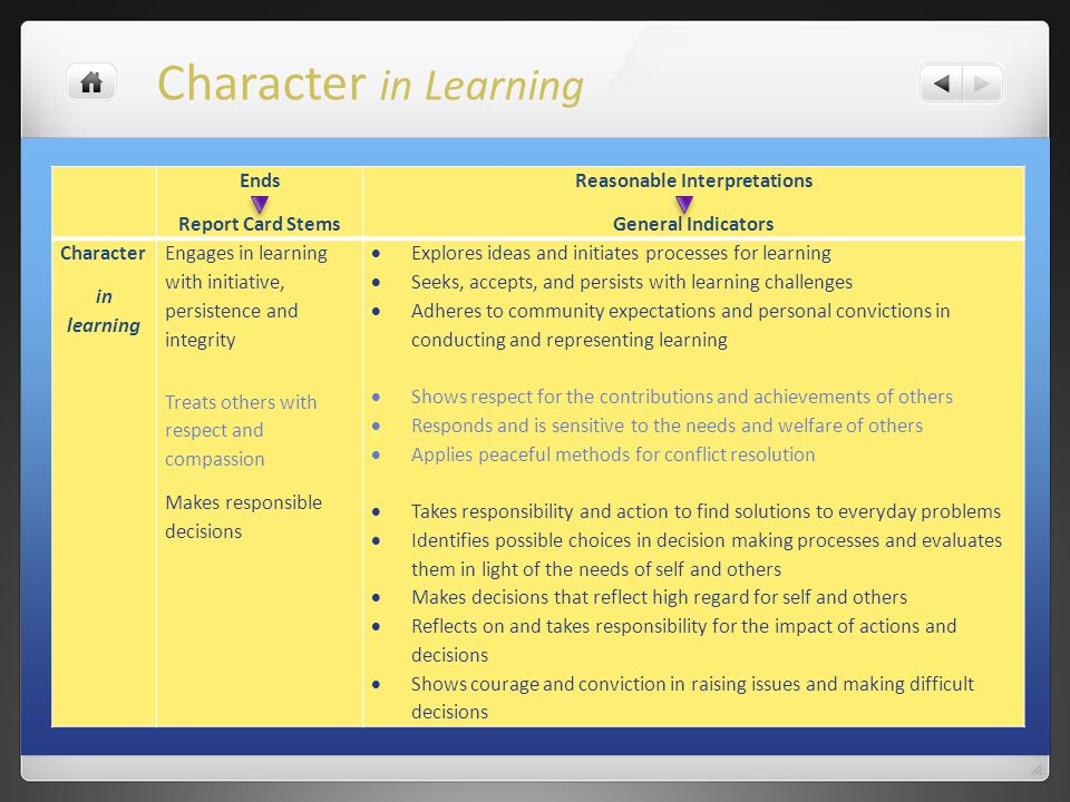 Ends Report Card Stems Reasonable Interpretations General Indicators Character in learning Engages in learning with initiative, persistence and integr