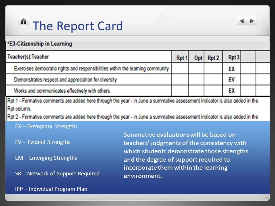 The Report Card EX – Exemplary Strengths EV – Evident Strengths EM – Emerging Strengths SR – Network of Support Required IPP – Individual Program Plan
