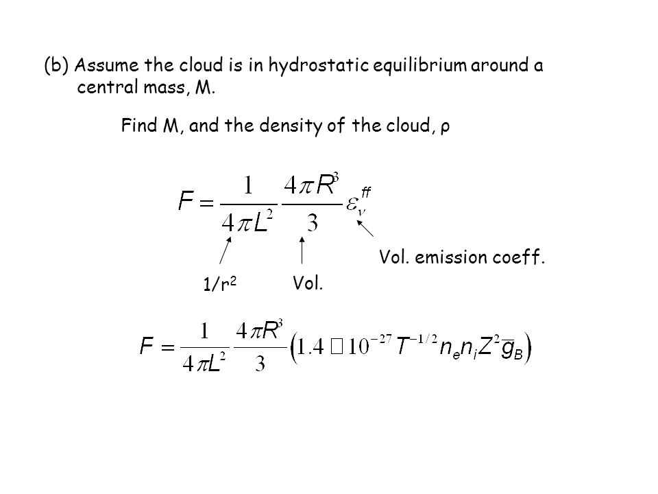 (b) Assume the cloud is in hydrostatic equilibrium around a central mass, M. Find M, and the density of the cloud, ρ Vol. 1/r 2 Vol. emission coeff.