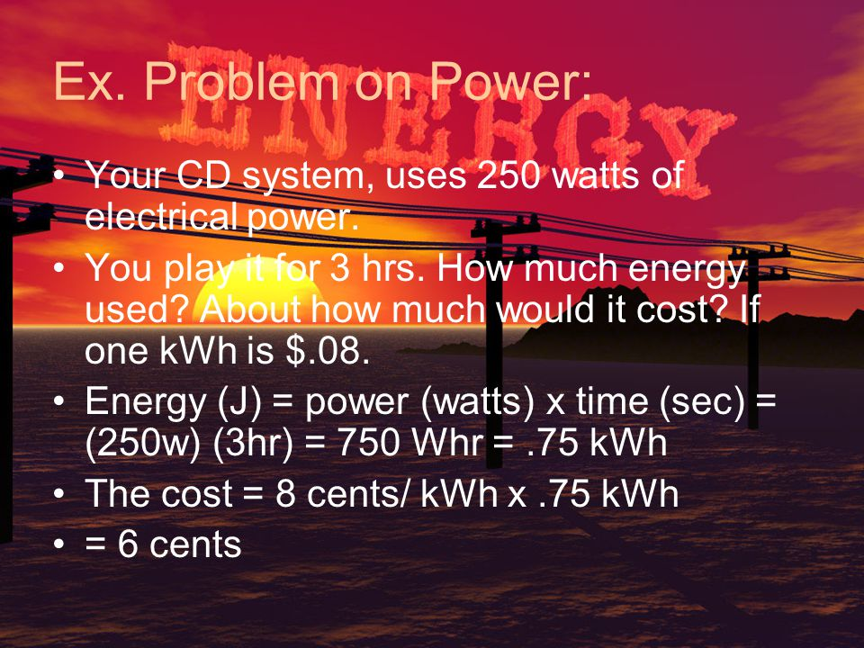 Important formulas and units QuantityDefinitionUnits Forcemass x accel.newtons Workforce x distancejoules Energypower x timejoules Powerwork / timewatts