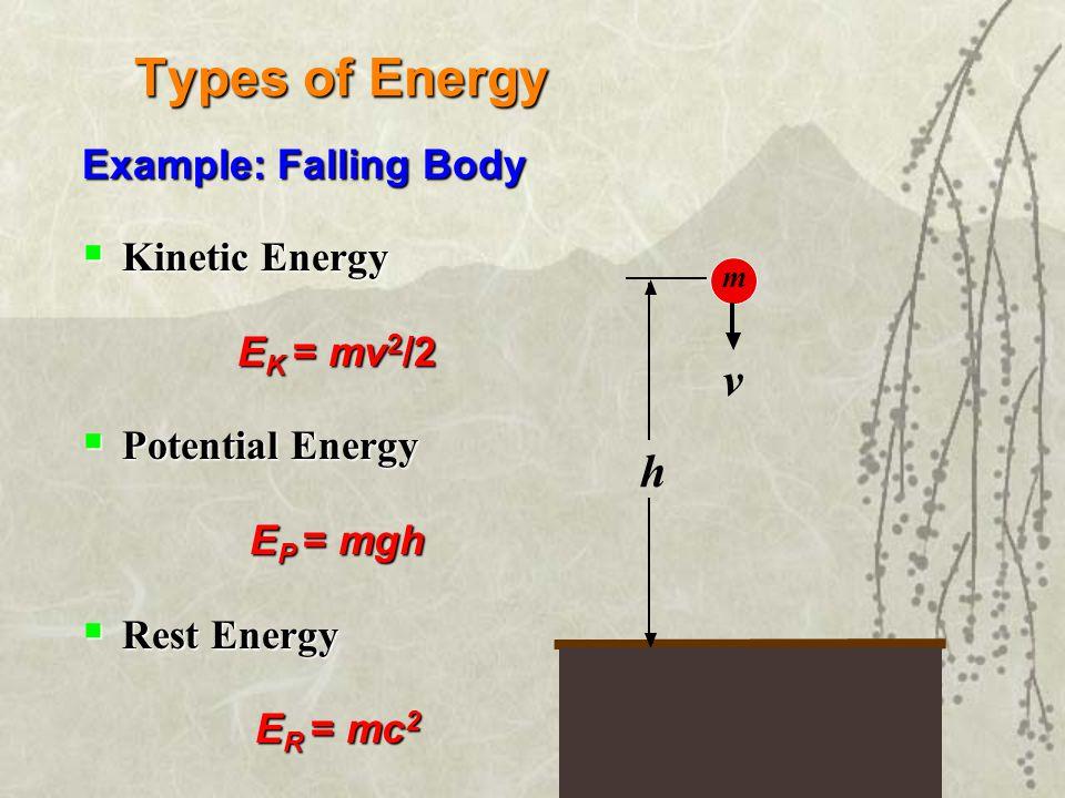 Types of Energy Example: Falling Body  Kinetic Energy E K = mv 2 /2  Potential Energy E P = mgh  Rest Energy E R = mc 2 h m v
