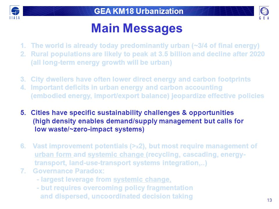 GEA KM18 Urbanization 13 1. 1.The world is already today predominantly urban (~3/4 of final energy) 2. 2.Rural populations are likely to peak at 3.5 b