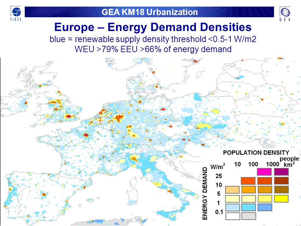 GEA KM18 Urbanization Europe – Energy Demand Densities blue = renewable supply density threshold 79% EEU >66% of energy demand