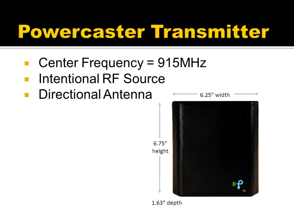  Center Frequency = 915MHz  Intentional RF Source  Directional Antenna