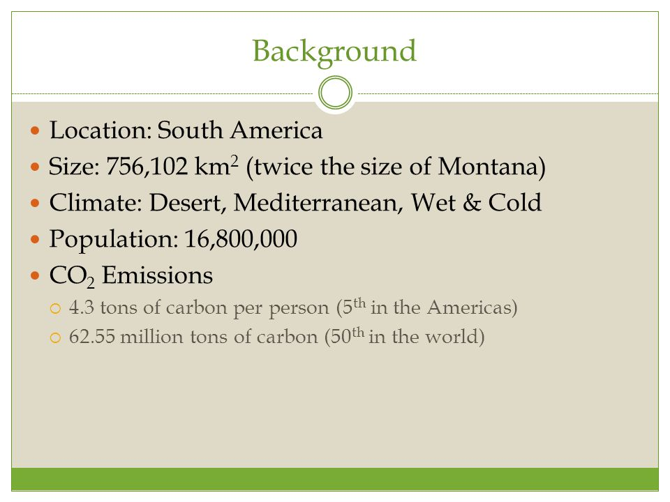 Background Location: South America Size: 756,102 km 2 (twice the size of Montana) Climate: Desert, Mediterranean, Wet & Cold Population: 16,800,000 CO 2 Emissions  4.3 tons of carbon per person (5 th in the Americas)  62.55 million tons of carbon (50 th in the world)