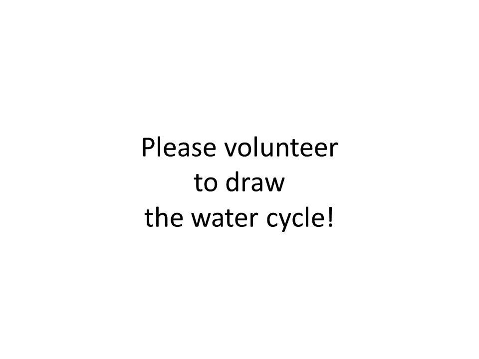 Please volunteer to draw the water cycle!