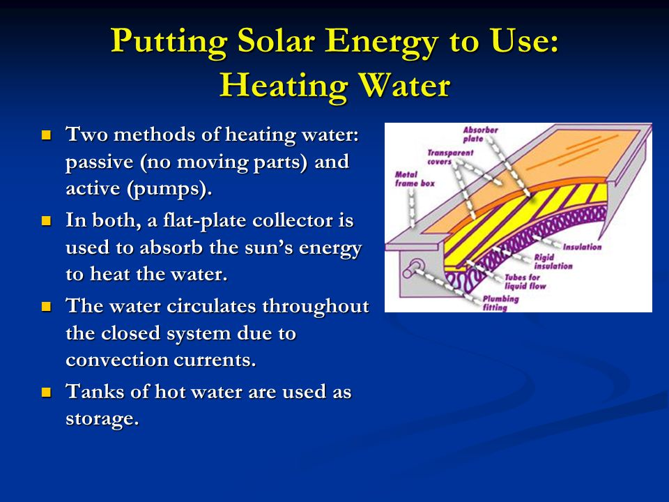 Putting Solar Energy to Use: Heating Water Two methods of heating water: passive (no moving parts) and active (pumps). Two methods of heating water: p