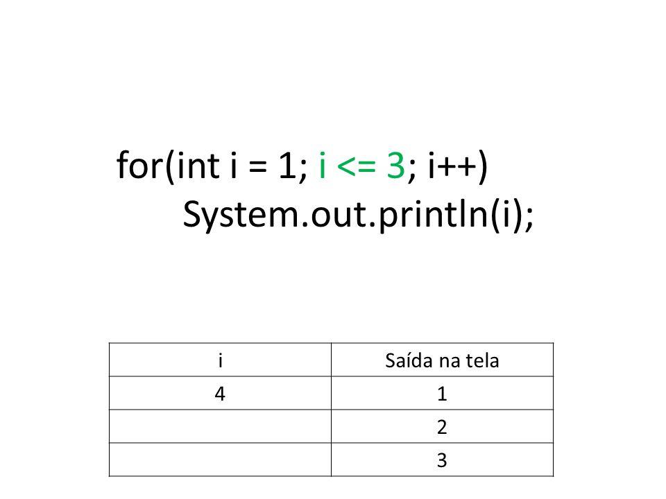 for(int i = 1; i <= 3; i++) System.out.println(i); iSaída na tela 41 2 3