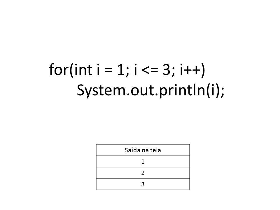 for(int i = 1; i <= 3; i++) System.out.println(i); Saída na tela 1 2 3