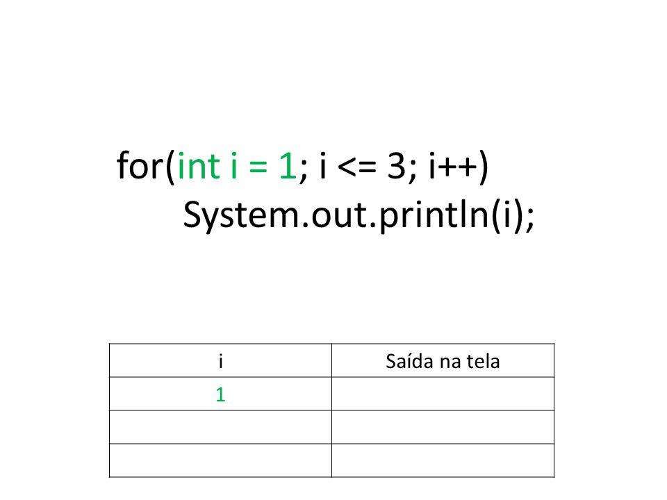 for(int i = 1; i <= 3; i++) System.out.println(i); iSaída na tela 1