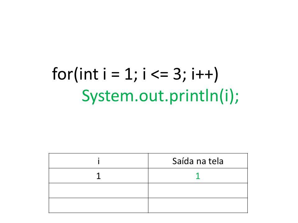 for(int i = 1; i <= 3; i++) System.out.println(i); iSaída na tela 11