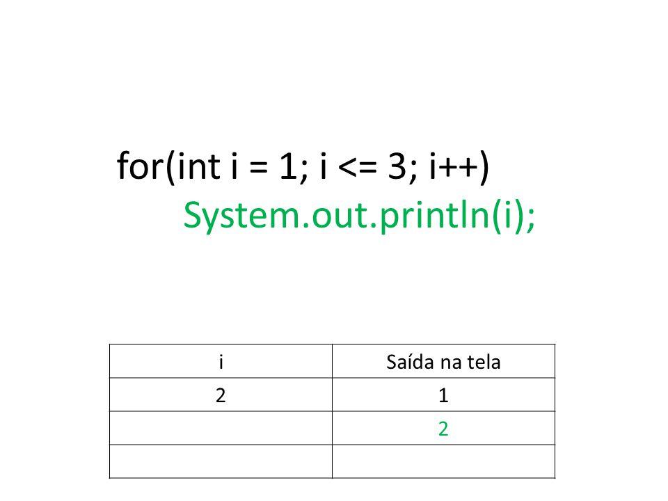 for(int i = 1; i <= 3; i++) System.out.println(i); iSaída na tela 21 2