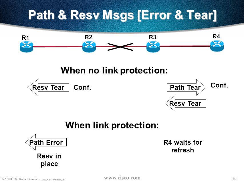 101 NANOG18 - Robert Raszuk © 2000, Cisco Systems, Inc. Path state while Rerouting R8 R2 R6 R4 R7 R1 R5 R9 BackUP tunnel Path (…, PHOP=R2, …) Path sta