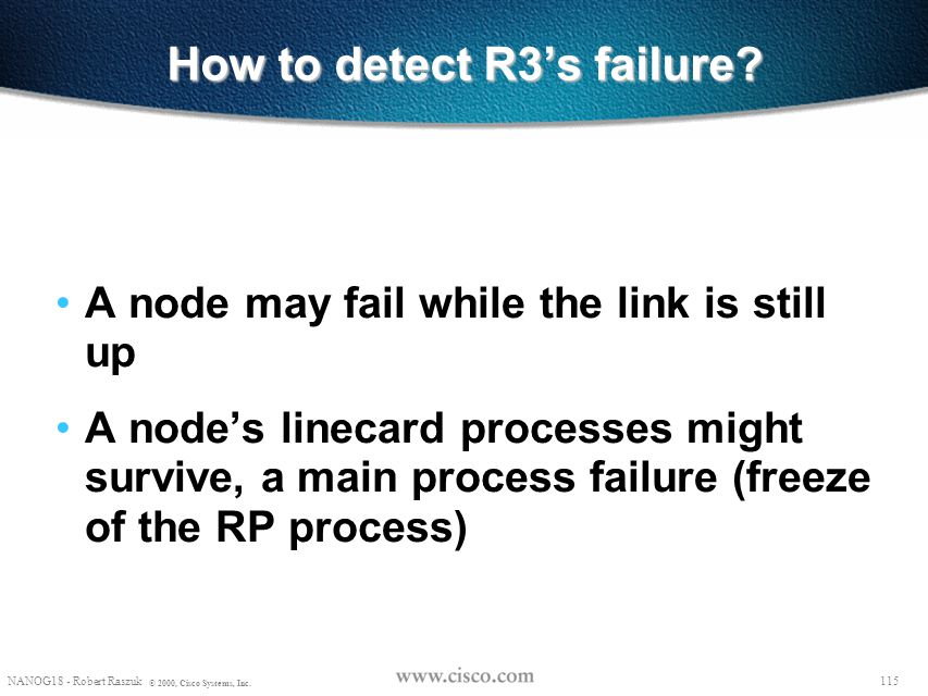 114 NANOG18 - Robert Raszuk © 2000, Cisco Systems, Inc. A few More Details RESV is being sent back from R4 to R2 directly If R3 is still active and ju