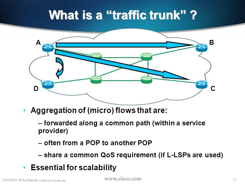 "16 NANOG18 - Robert Raszuk © 2000, Cisco Systems, Inc. TE - key mechanisms ""Explicit"" routing (aka ""source routing"") – RSVP as the mechanism for estab"