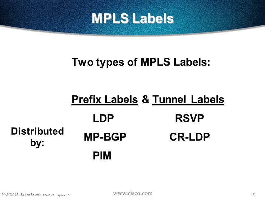 50 © 1999, Cisco Systems, Inc. MPLS as the forwarding mechanism 50 © 1999, Cisco Systems, Inc.