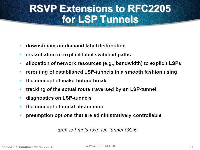 53 © 1999, Cisco Systems, Inc. LSP tunnel Setup 53 © 1999, Cisco Systems, Inc.