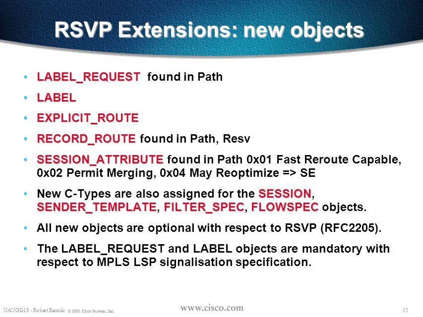 54 NANOG18 - Robert Raszuk © 2000, Cisco Systems, Inc. RSVP Extensions to RFC2205 for LSP Tunnels downstream-on-demand label distribution instantiatio