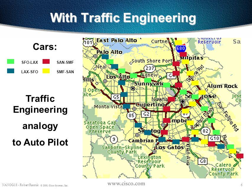 5 NANOG18 - Robert Raszuk © 2000, Cisco Systems, Inc. Without Traffic Engineering Cars: SFO-LAX LAX-SFO SAN-SMF SMF-SAN No Traffic Engineering analogy