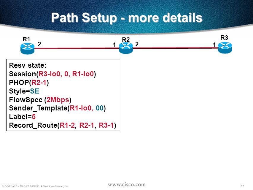 64 NANOG18 - Robert Raszuk © 2000, Cisco Systems, Inc. Path Setup - more details R3 R1 2 1 R2 2 1 Resv: Common_Header Session(R3-lo0, 0, R1-lo0) PHOP(