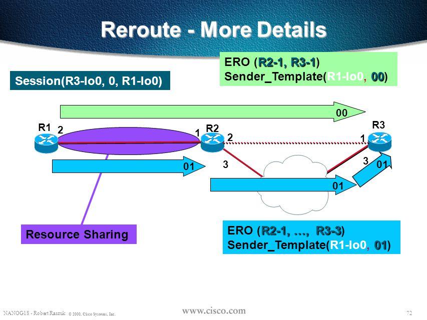 71 NANOG18 - Robert Raszuk © 2000, Cisco Systems, Inc. Non-disruptive rerouting - switching paths Pop 22 38 49 17 R8 R2 R6 R3 R4 R7 R1 R5 R9 32 Resv: