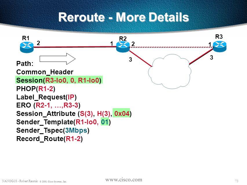 72 NANOG18 - Robert Raszuk © 2000, Cisco Systems, Inc. Reroute - More Details R2 R3 R1 R2-1, R3-1 00 ERO (R2-1, R3-1) Sender_Template(R1-lo0, 00) 2 3