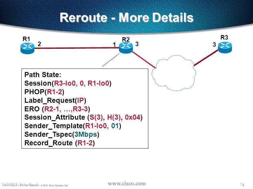 73 NANOG18 - Robert Raszuk © 2000, Cisco Systems, Inc. Reroute - More Details R2 R3 R1 Path: Common_Header Session(R3-lo0, 0, R1-lo0) PHOP(R1-2) Label