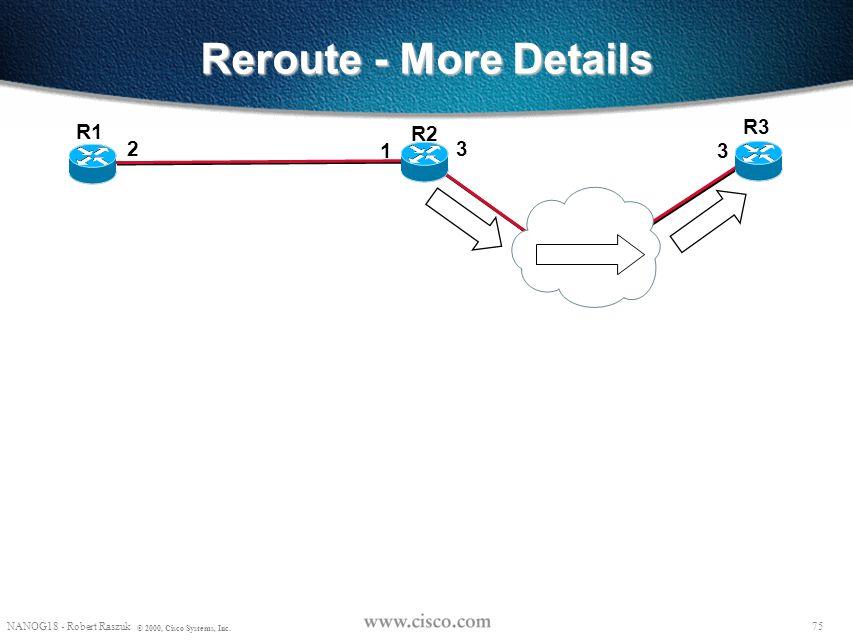 74 NANOG18 - Robert Raszuk © 2000, Cisco Systems, Inc. Reroute - More Details R2 R3 R1 23 1 3 Path State: Session(R3-lo0, 0, R1-lo0) PHOP(R1-2) Label_