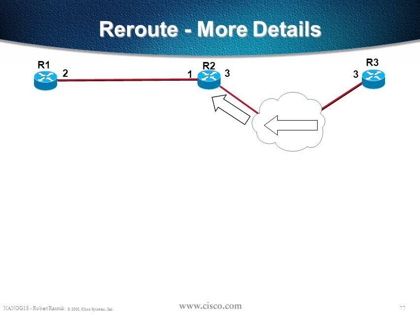 76 NANOG18 - Robert Raszuk © 2000, Cisco Systems, Inc. Reroute - More Details R2 R3 R1 23 1 3 RSVP: Common_Header Session(R3-lo0, 0, R1-lo0) PHOP(R3-3
