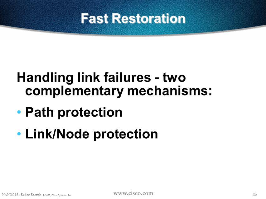 79 NANOG18 - Robert Raszuk © 2000, Cisco Systems, Inc. Reroute - More Details R2 R3 R1 23 1 3 RSVP state: Session(R3-lo0, 0, R1-lo0) PHOP(R2-1) Style=