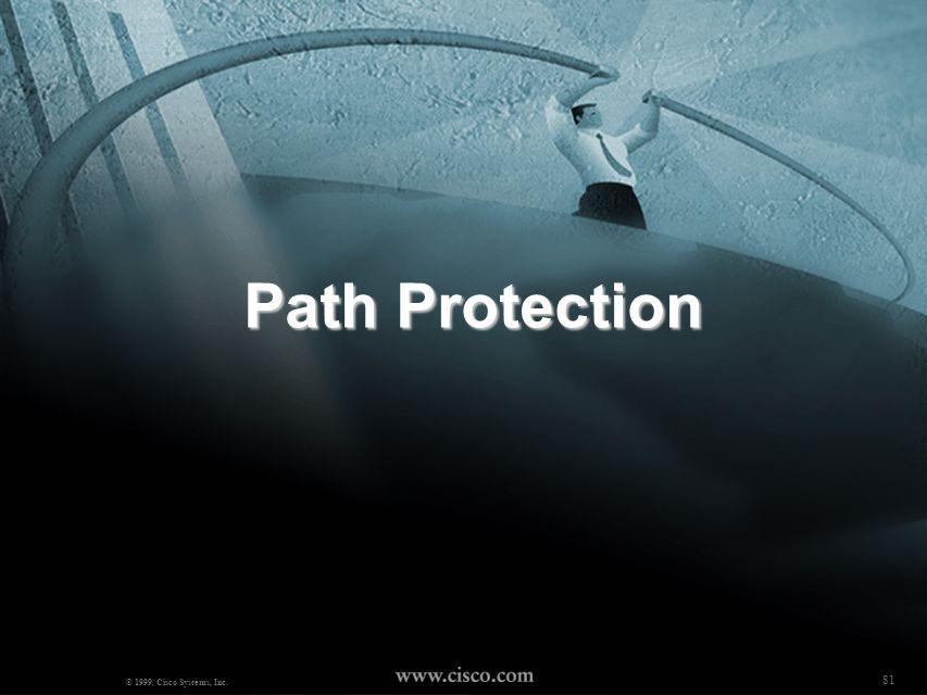 80 NANOG18 - Robert Raszuk © 2000, Cisco Systems, Inc. Fast Restoration Handling link failures - two complementary mechanisms: Path protection Link/No
