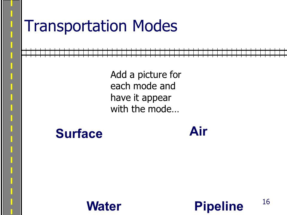 16 Transportation Modes Air PipelineWater Surface Add a picture for each mode and have it appear with the mode…