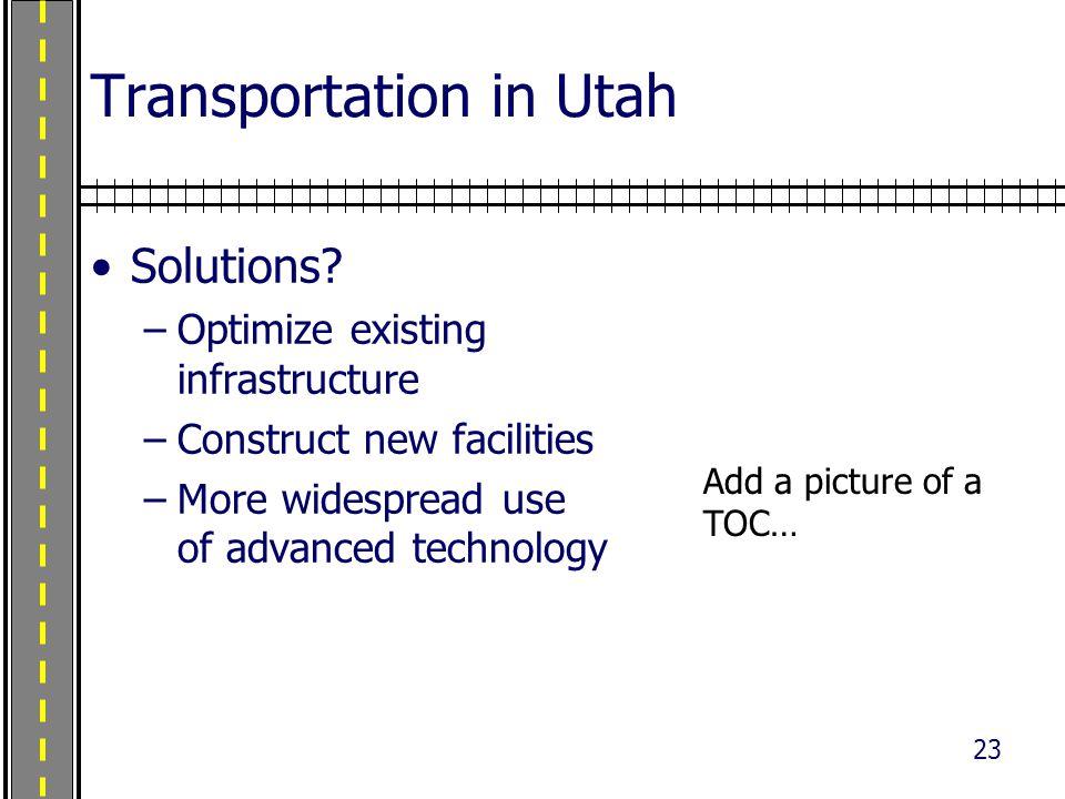 23 Transportation in Utah Solutions.