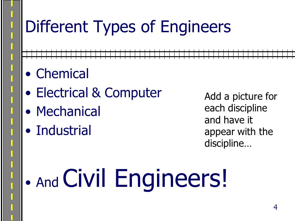 4 Different Types of Engineers Chemical Electrical & Computer Mechanical Industrial And Civil Engineers.