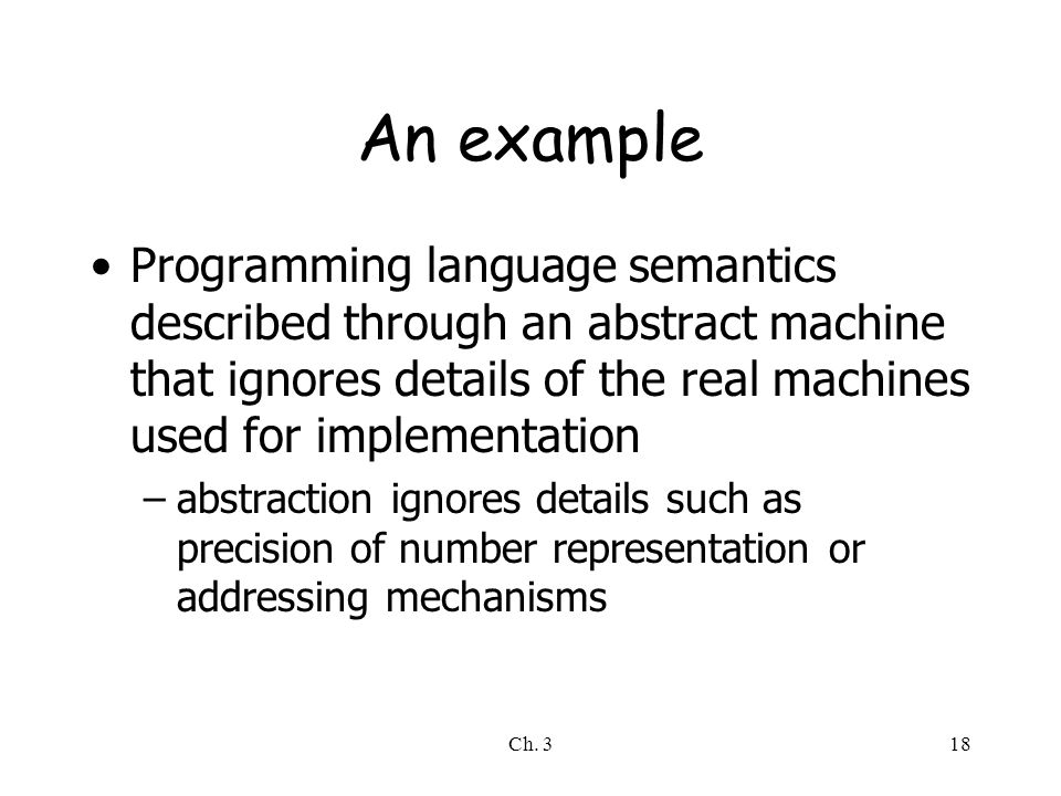 Ch. 318 An example Programming language semantics described through an abstract machine that ignores details of the real machines used for implementat