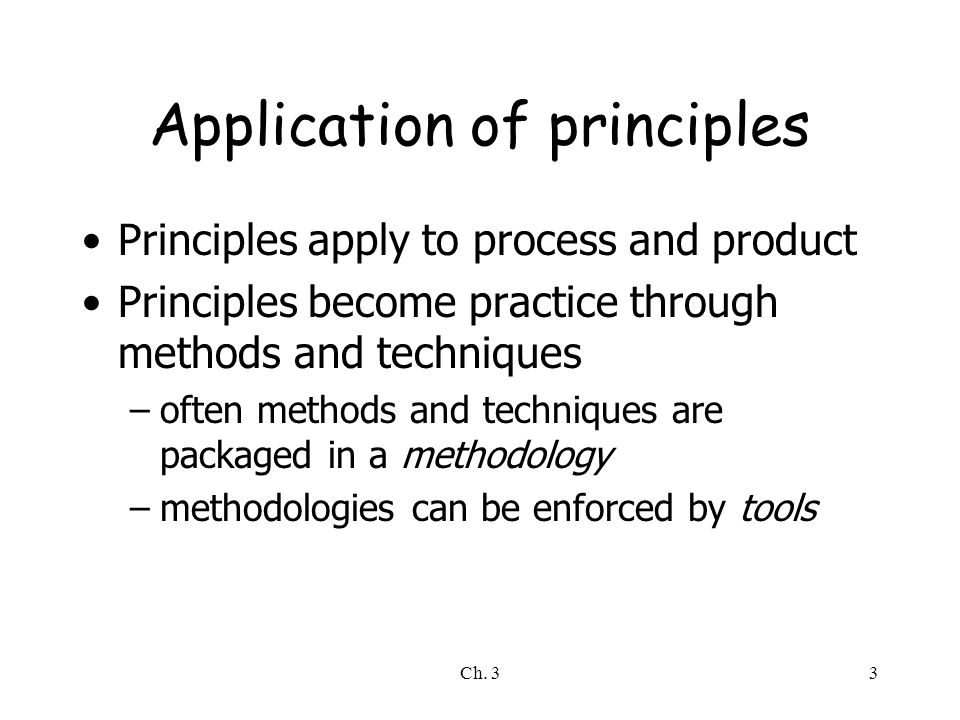 Ch. 33 Application of principles Principles apply to process and product Principles become practice through methods and techniques –often methods and